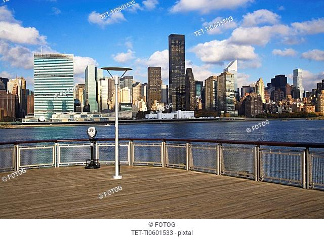 Pier and cityscape