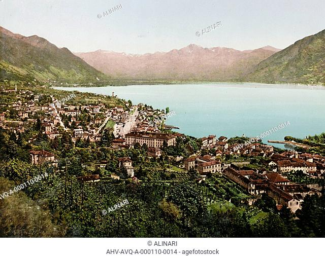 Panoramic view of Locarno, on the northern tip of Lake Maggiore, shot 1900 ca. by PZ