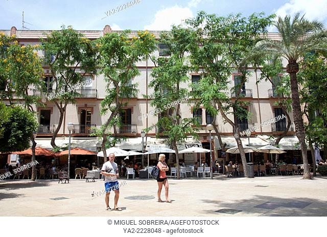 Placa Des Parc Square with cafes in Ibiza - Spain