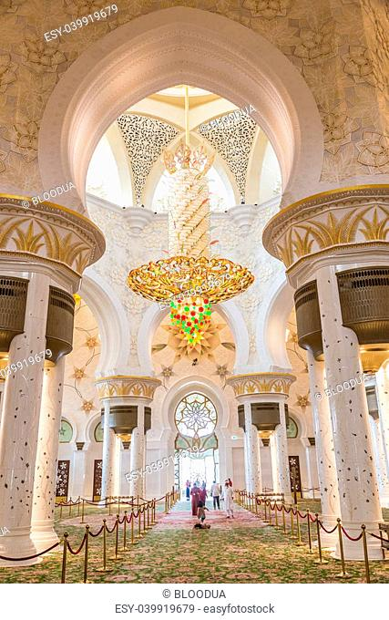 ABU DHABI, UNITED ARAB EMIRATES - APRIL 7: Sheikh Zayed Grand Mosque April 7, 2013 in Abu Dhabi, United Arab Emirates. The famous Sheikh Zayed mosque is the...