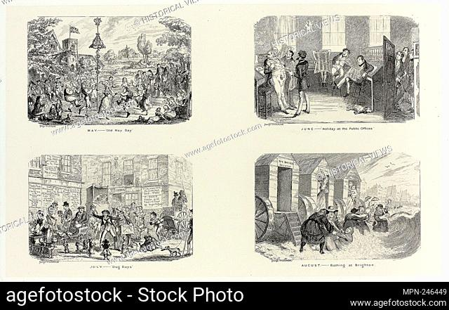 """May – """"""""Old May Day"""""""" from George Cruikshank's Steel Etchings to The Comic Almanacks: 1835-1853 (top left) - 1836, printed c"""