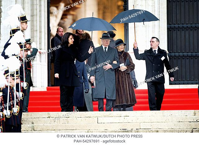 King Carl Gustaf and Queen Silvia of Sweden (both C) attend the funeral of Belgian Queen Fabiola at the Cathedral of St. Michael and St