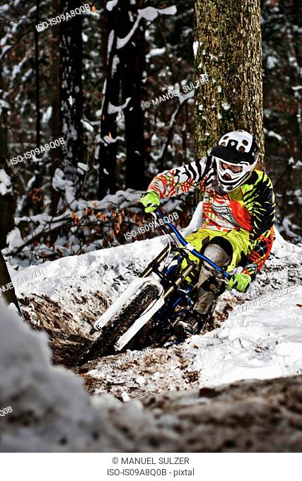 Mountain biker riding forest track in winter