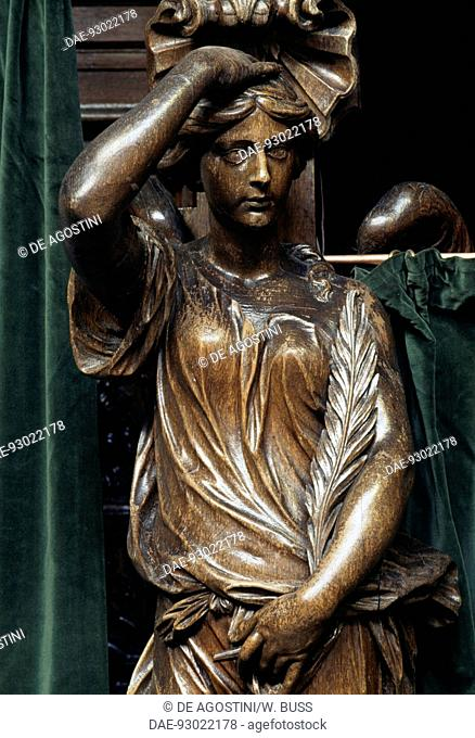 Wooden statue, Cathedral of St Michael and St Gudula, 13th-17th century, Brussels, Belgium