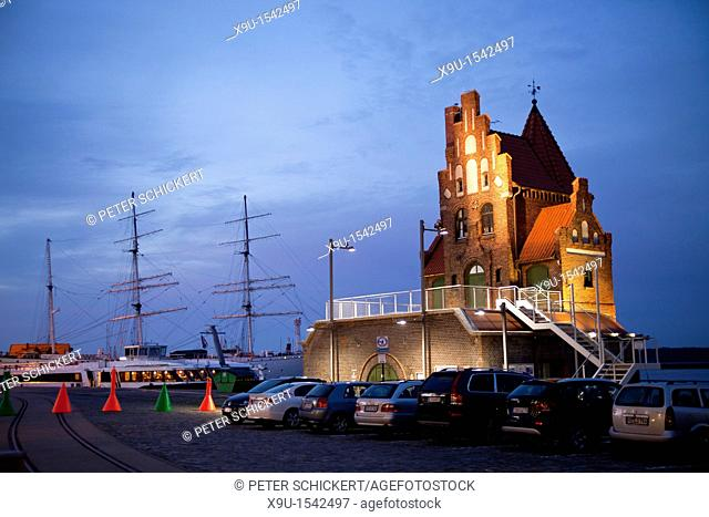 illuminated building of the Maritime pilots in the Hanseatic City of Stralsund, Mecklenburg-Vorpommern, Germany