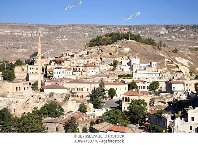 landscape and ayuali village, cappadocia, anatolia, turkey, asia
