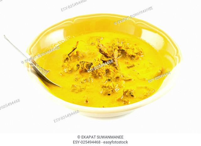 Curry with fish grill, Isolaed over white background