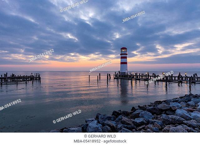 Lighthouse in Podersdorf at the lake, Lake Neusiedl, Burgenland, Austria, Europe