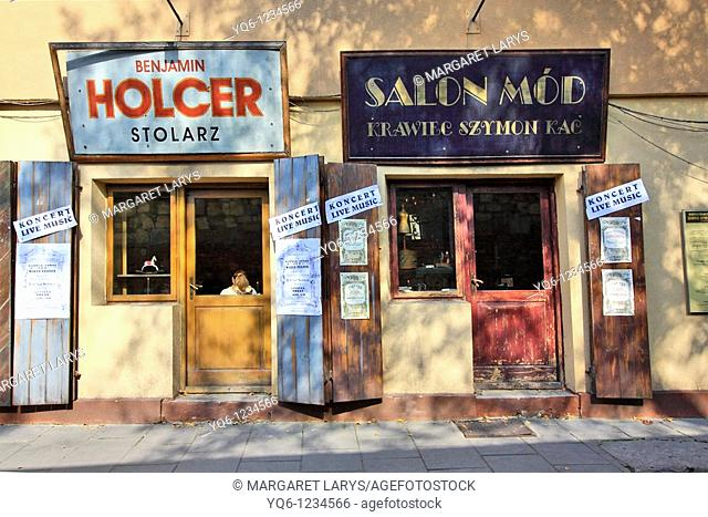 Old, Jewish shop signs in the historical Jewish distric Kazimierz, Krakow, Poland