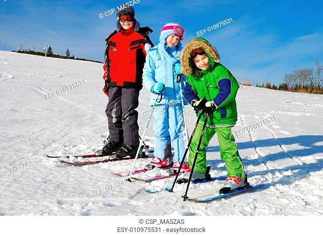 Three Kids on Skis