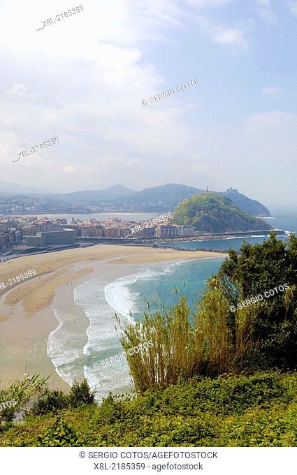 View of San Sebastian from Mount Ulia Guipuzcoa, Basque Country