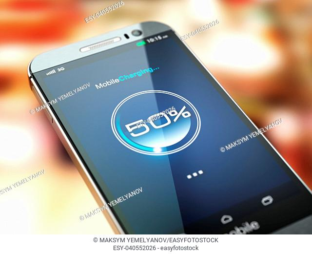 Mobile phone charging. Smartphone with charge battery level on the screen. 3d