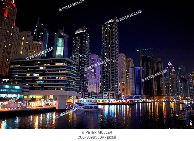 Cityscape at night of Dubai Marina, Dubai, UAE