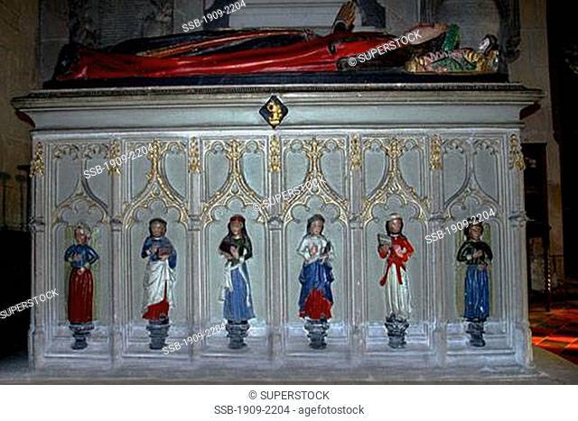 Shropshire Moreton Corbett Corbet Morton St Bartholomews Church interior with painted tomb of the Corbett family England UK GB United Kingdom Great Britain...