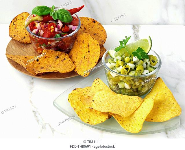 Red and green chilli salsa appetizers