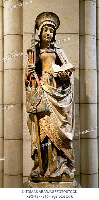 Saint Savina of Troyes or Saint Syra, 1510-20, Made in Champagne, France, Limestone with paint Overall, without pedestal: 48 in  121 9 cm