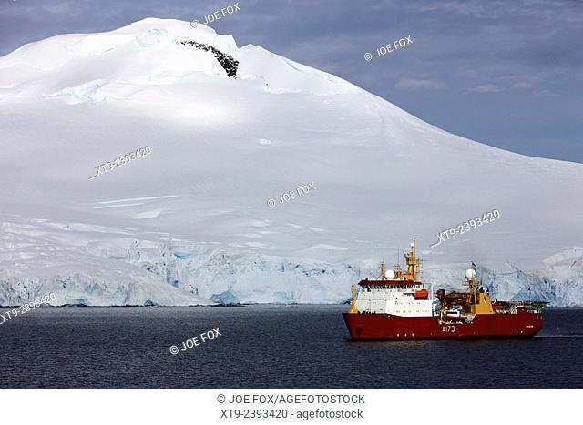 Royal Navy Ice Patrol Ship HMS Protector in Port Lockroy Antarctica
