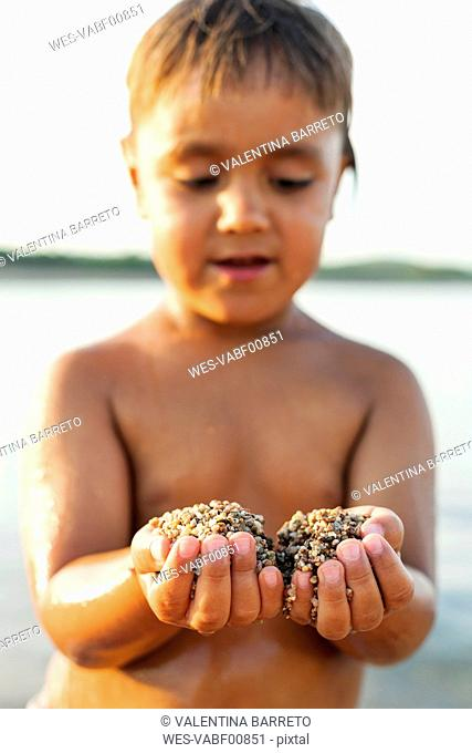 Little boy's hands holding sand, close-up