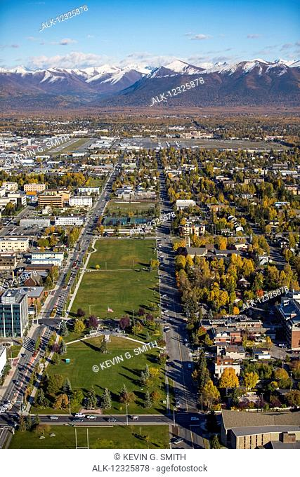Aerial view of the Delaney Park Strip in autumn near downtown Anchorage, Southcentral Alaska, USA