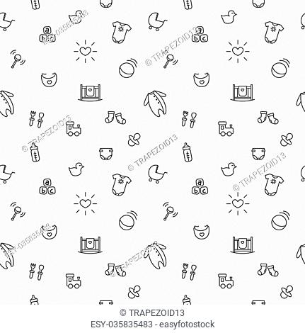 Vector funny baby and pregnancy seamless pattern. Newborn black and white background