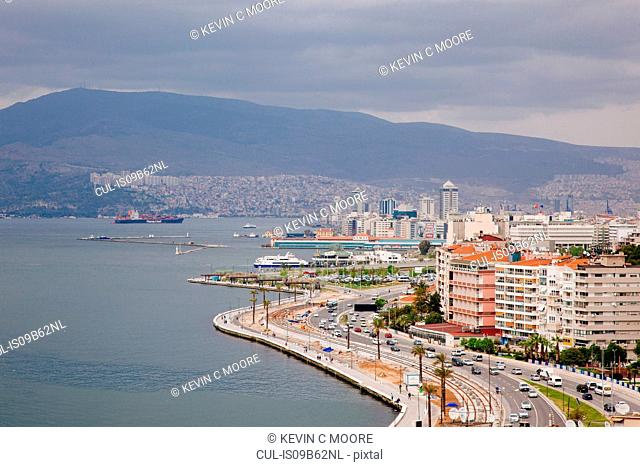 View of town and Aegean sea, Izmir, Turkey