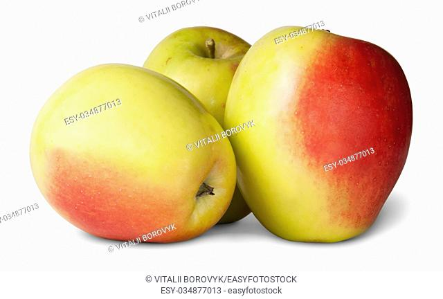 Three Red And Yellow Apple Isolated On White Background