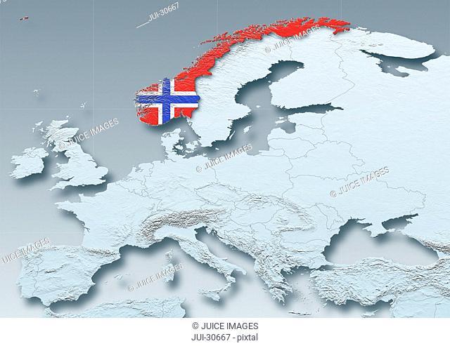 Norway, flag, map, Western Europe, grey, physical, grey, political
