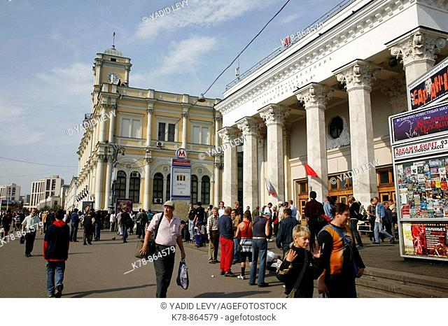 Sep 2008 - People at Komsomolskaya Ploshchad were three of moscows main railway stations are situated, Moscow, Russia