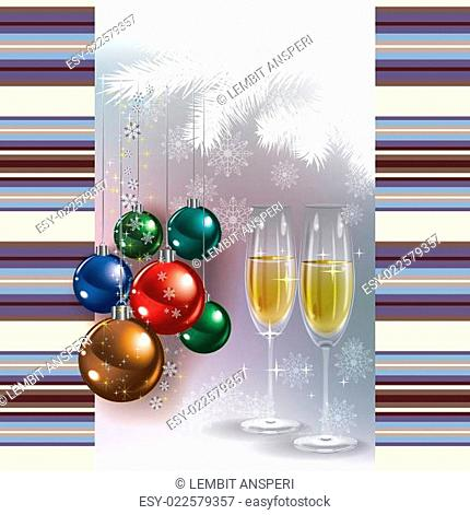 Abstract greeting with champagne and Christmas decorations