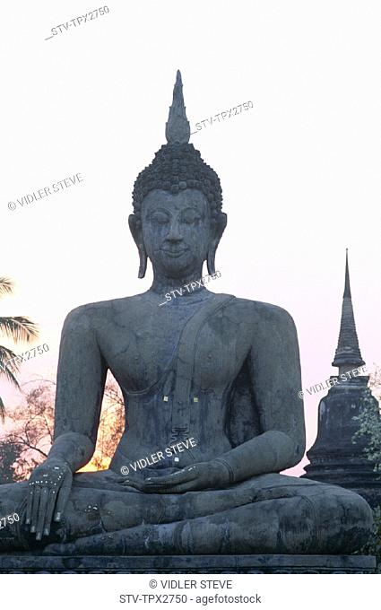 Asia, Buddha, Heritage, Holiday, Landmark, Seated, Sukhothai, Thailand, Tourism, Travel, Unesco, Vacation, Wat mahathat, World