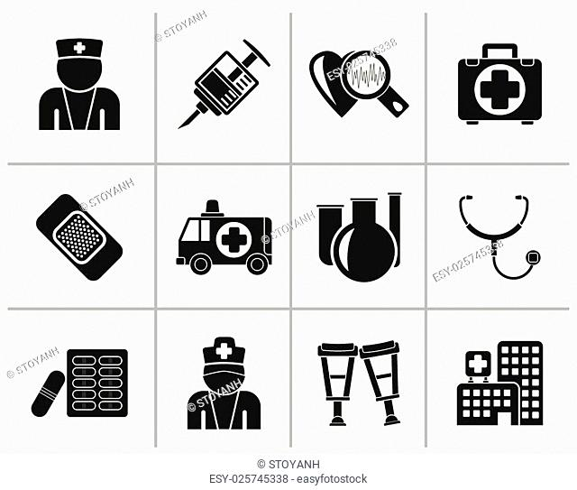 Black Medicine and healthcare icons - vector icon set