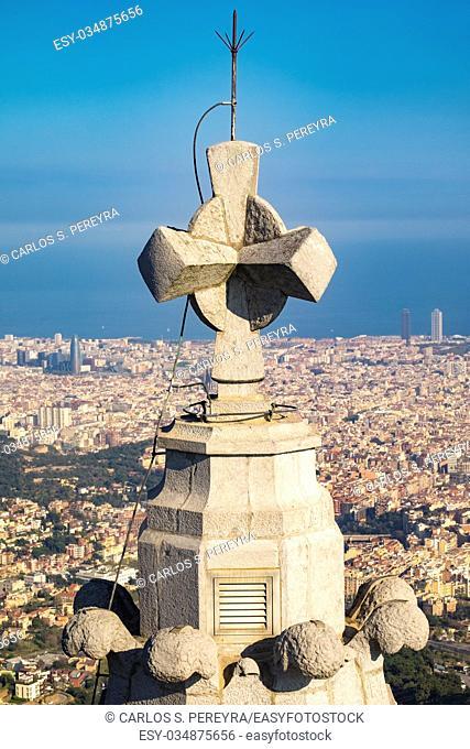 Panoramic view of Barcelona from Tibidabo mountain