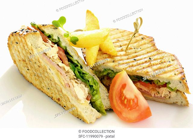 Sandwiches with chicken, tuna, tomato and lettuce (close-up)