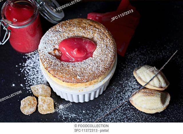 Vanilla and ginger souffle with rhubarb sauce