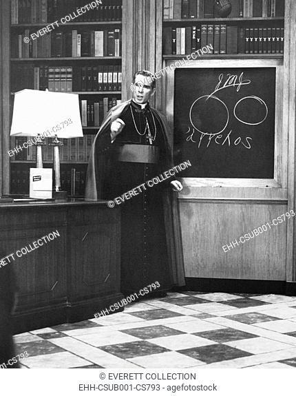 Bishop Fulton Sheen presents an illustrated theology lesson on his TV show, LIFE IS WORTH LIVING. Dec. 13, 1954. (CSU-2015-9-1146)