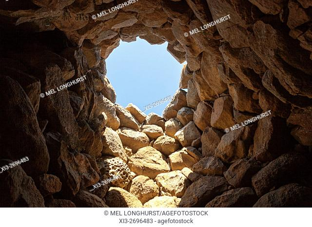 Opening in roof of building in Nuraghe La Prisgiona Archaeological Site, Arzachena, Sardinia, Italy