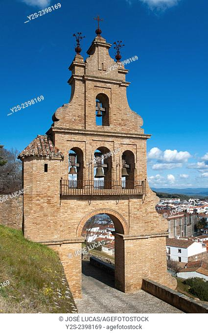 Belfry gate of the castle and village, Aracena, Huelva province, Region of Andalusia, Spain, Europe