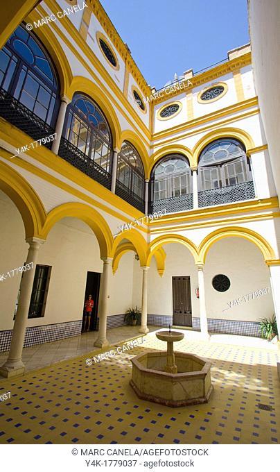 Spain, Seville. The Alcázar of Seville Spanish 'Reales Alcázares de Sevilla' or 'Royal Alcazars of Seville', is a royal palace in Seville, Spain