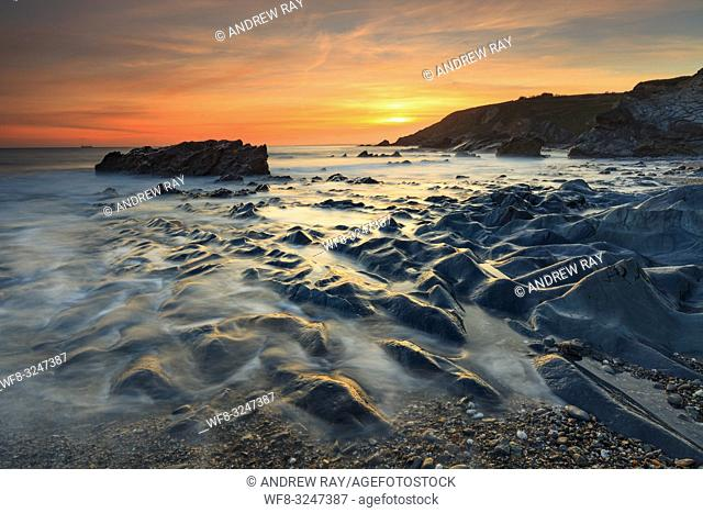 Sunset captured at Dollar Cove, at Gunwalloe on Cornwall's Lizard Peninsula on an evening in mid March