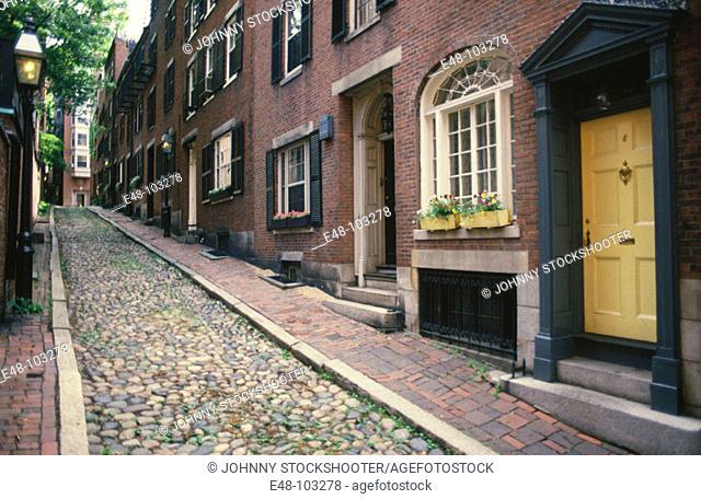 Acorn Street. Boston . Massachusetts. USA