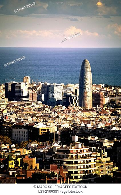 Cityscape. Agbar tower by Jean Nouvel and @22 district. Barcelona, Catalonia, Spain