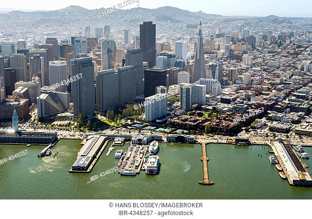 Aerial view of San Francisco Downtown with its piers as seen from the water, San Francisco, San Francisco Bay Area, California, USA