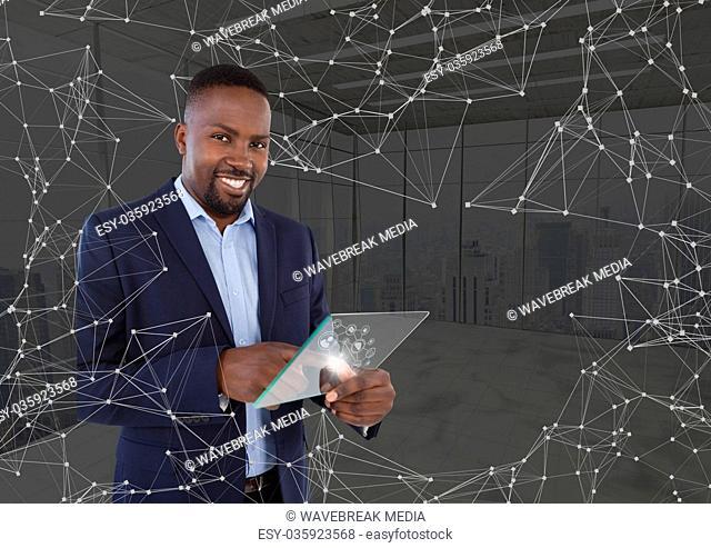 man holding glass interface, dots