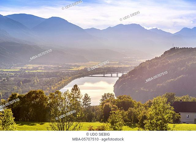 Austria, Carinthia, 'Rosental', 'Maria Rain', Drau, reservoir of Ferlach to Karawanken, view from the Kaiserhütte