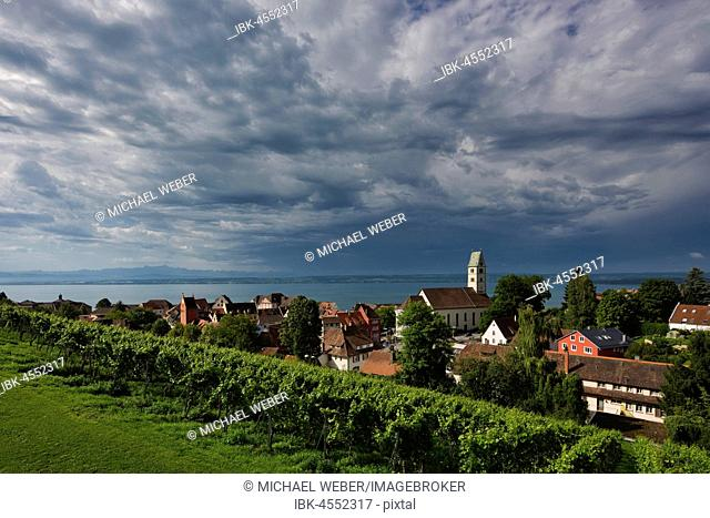 View of Meersburg with parish church on Lake Constance, Baden-Württemberg, Germany