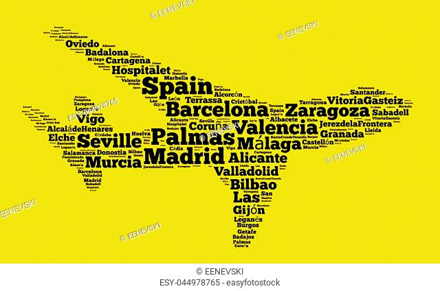 Localities in Spain word cloud concept over airplane shape