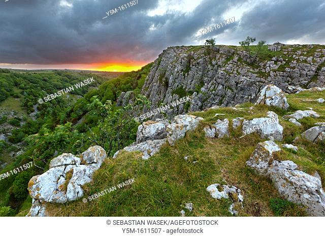 View of Cheddar Gorge on the edge of the Mendip Hills, Somerset, England, UK, Europe