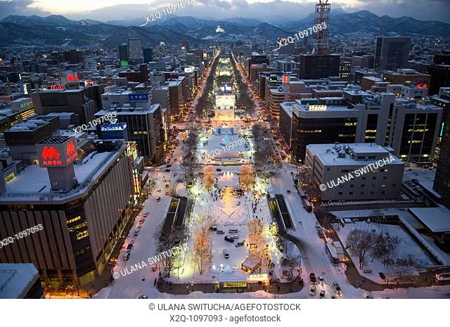 Aerial view of Sapporo Hokkaido Japan during the Winter Festival