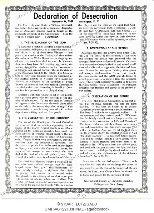 "A Vietnam War era leaflet from the International Council of Christian Churches titled """"Declaration of Desecration"""" advocating that the March Against Death and..."