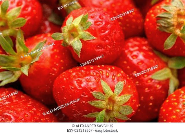 Fresh Strawberries with Green Leaf